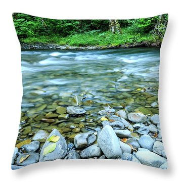 Sol Duc River In Summer Throw Pillow
