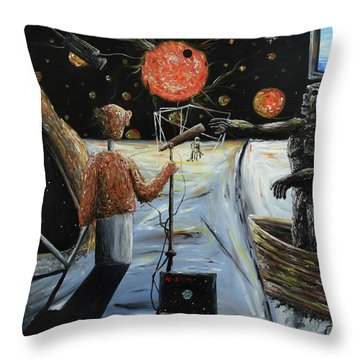 Throw Pillow featuring the painting Solar Broadcast -transition- by Ryan Demaree