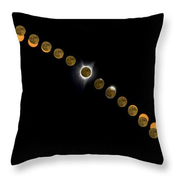 Solar Eclipse Stages 2017 Throw Pillow