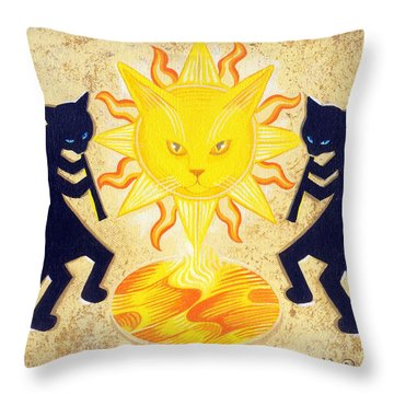 Solar Feline Entity Throw Pillow by John Deecken