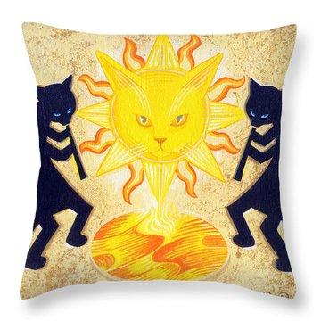 Solar Feline Entity Throw Pillow