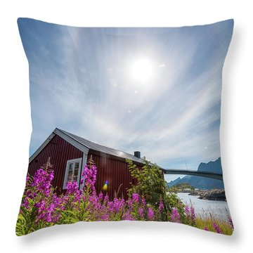 Solar Halo Above Rorbu Throw Pillow
