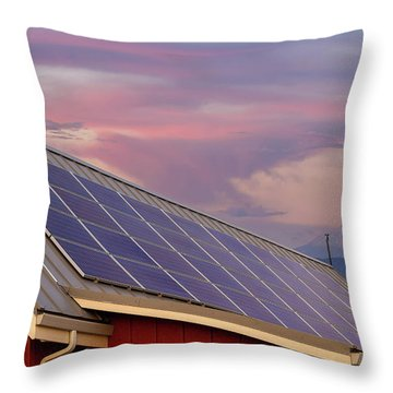 Solar Panels On Roof Of House Throw Pillow by David Gn