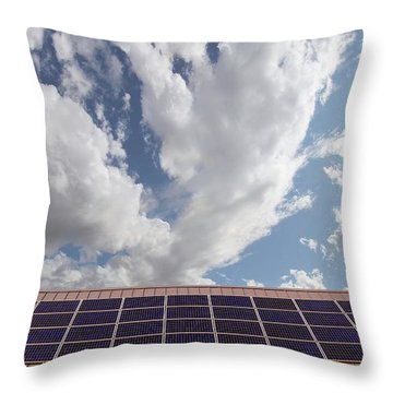 Solar Panels On Roof Top Throw Pillow by David Gn