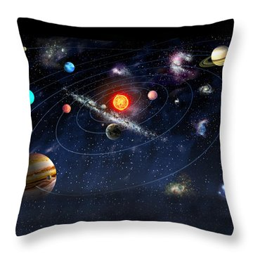 Throw Pillow featuring the digital art Solar System by Gina Dsgn