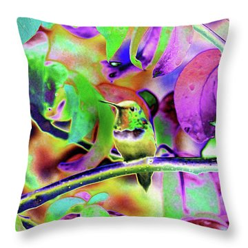 Throw Pillow featuring the photograph Solarized Hummer by Wendy McKennon