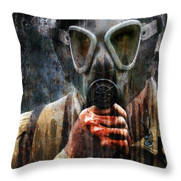 Soldier In World War 2 Gas Mask Throw Pillow