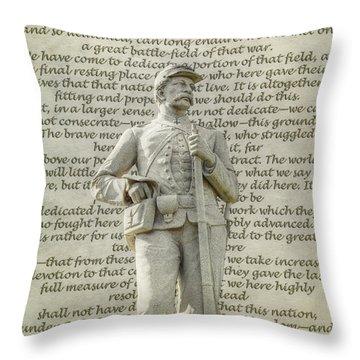 Soldier Statue Gettysburg Address  Throw Pillow