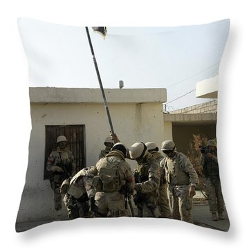 Soldiers From The Iraqi Special Forces Throw Pillow by Stocktrek Images
