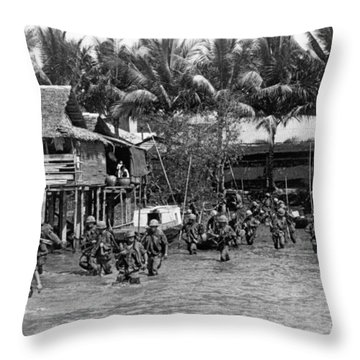 Soldiers In The Mekong Delta Throw Pillow