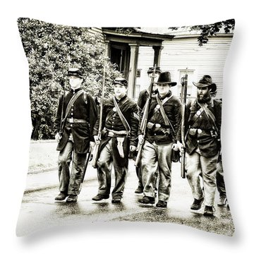 Soldiers Marching In Parade Throw Pillow