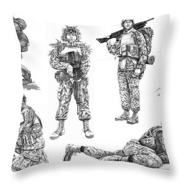 Soldiers Throw Pillow by Murphy Elliott