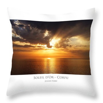 Throw Pillow featuring the digital art Soleil D'or - Corfu by Julian Perry