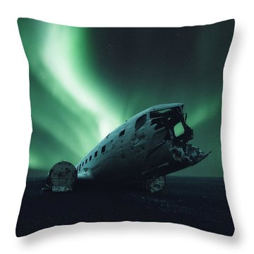 Solheimsandur Crash Site Throw Pillow