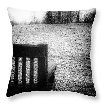 Solitary Bench In Winter Throw Pillow