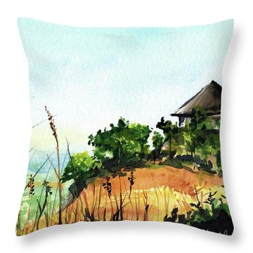 Throw Pillow featuring the painting Solitary Cottage In Malawi by Dora Hathazi Mendes