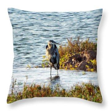 Solitary Heron Throw Pillow