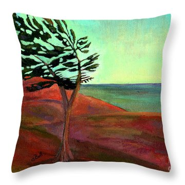 Throw Pillow featuring the painting Solitary Pine by Claire Bull