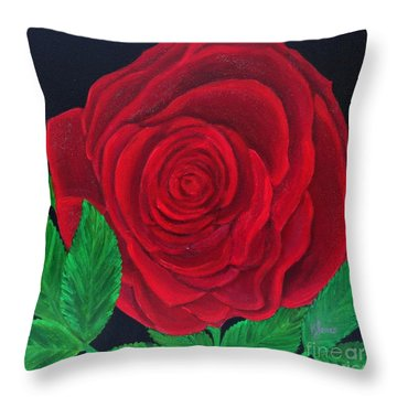 Solitary Red Rose Throw Pillow
