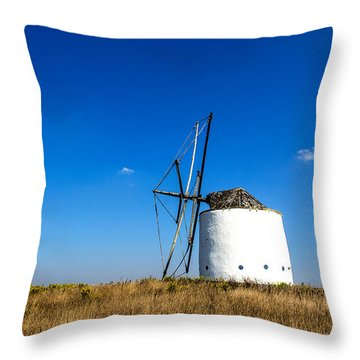Solitary Windmill Throw Pillow
