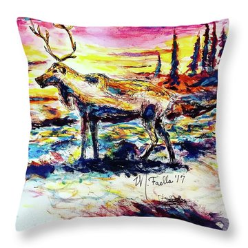 Throw Pillow featuring the painting Solitude Caribou by Monique Faella
