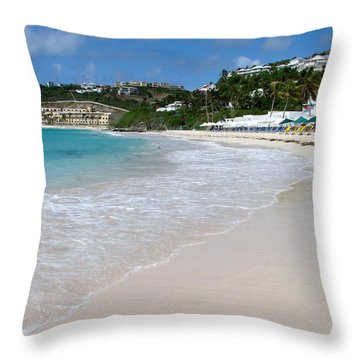 Solitude On Dawn Beach Throw Pillow by Margaret Bobb