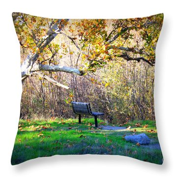 Solitude Under The Sycamore Throw Pillow by Carol Groenen