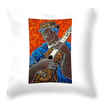 Throw Pillow featuring the painting Solo De Cuatro by Oscar Ortiz