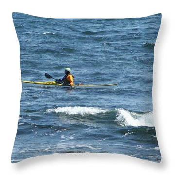 Solo Kayak Throw Pillow