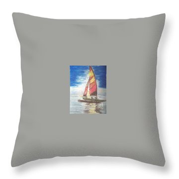 Throw Pillow featuring the painting Solo Ride by Trilby Cole