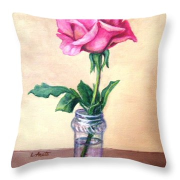 Throw Pillow featuring the painting Solo Rose by Laura Aceto