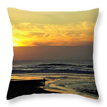 Solo Sunset On The Beach Throw Pillow