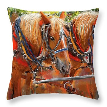 Throw Pillow featuring the painting Solvang California Horse Drawn Wagon Art by Lourry Legarde