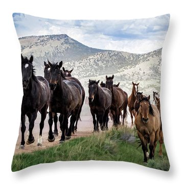 Sombrero Ranch Horse Drive, An Annual Event In Maybell, Colorado Throw Pillow