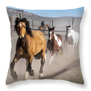 Sombrero Ranch Horse Drive At The Corrals Throw Pillow