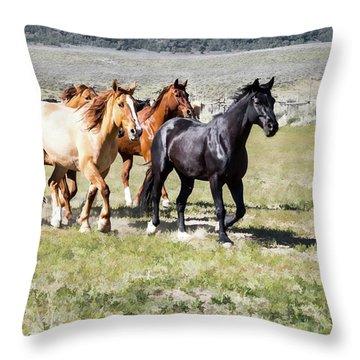 Sombrero Ranch Horse Drive, Galloping Horses Throw Pillow