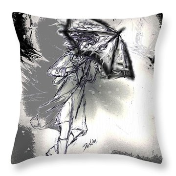 Throw Pillow featuring the drawing Some Days It Just Pays To Stay In Bed by Desline Vitto