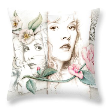 Some Lace And Paper Flowers Throw Pillow