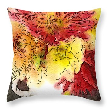 Throw Pillow featuring the photograph Some Summer Dahlias 2 by Ronda Broatch