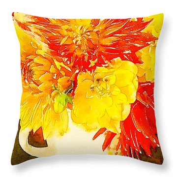 Throw Pillow featuring the photograph Some Summer Dahlias by Ronda Broatch