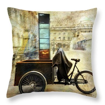 Throw Pillow featuring the photograph Somerset House Cart Bicycle by Craig J Satterlee
