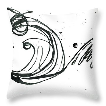 Something Gotta Give - Revolving Life Collection - Modern Abstract Black Ink Artwork Throw Pillow