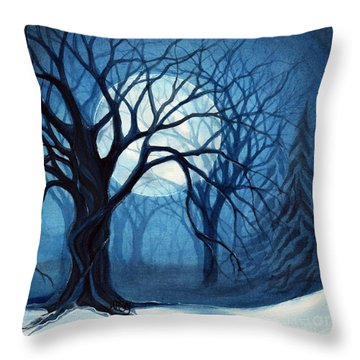 Something In The Air Tonight - Winter Moonlight Forest Throw Pillow