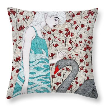 Throw Pillow featuring the mixed media Something Magical by Natalie Briney