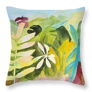 Throw Pillow featuring the painting Sometimes I Miss The Tropics by Sandy McIntire