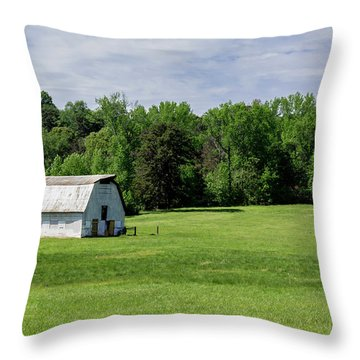 Barn In Green Pasture Throw Pillow