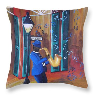 Somewhere On Bourbon Street Throw Pillow