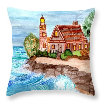 Throw Pillow featuring the painting Somewhere On The Edge by Connie Valasco
