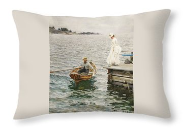Sommer Vergnugen Throw Pillow by Pg Reproductions