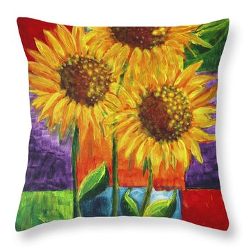 Throw Pillow featuring the painting Sonflowers I by Holly Carmichael